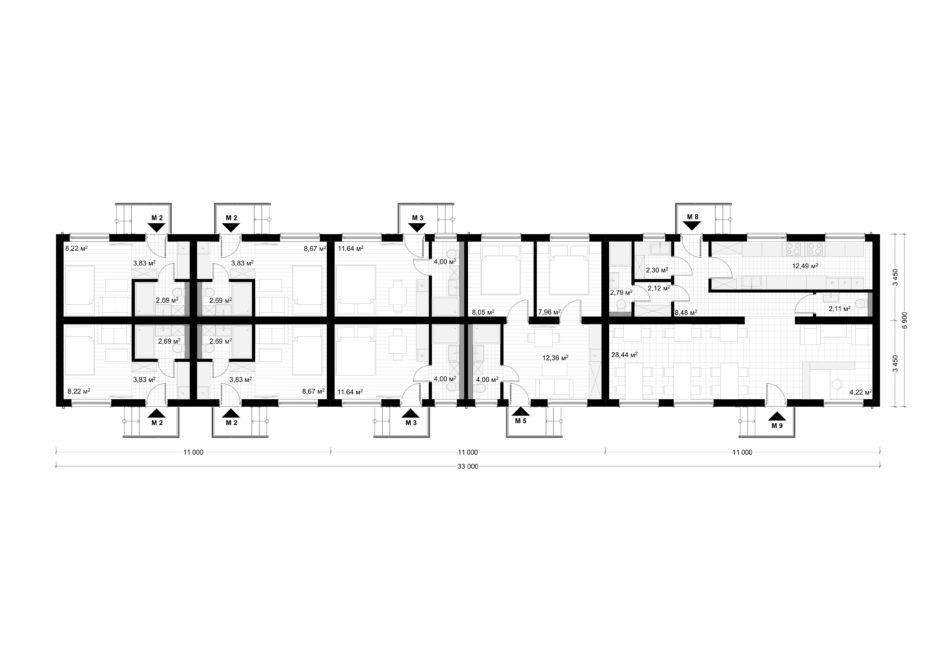 Deltamodul Modulbau C2 Grundriss